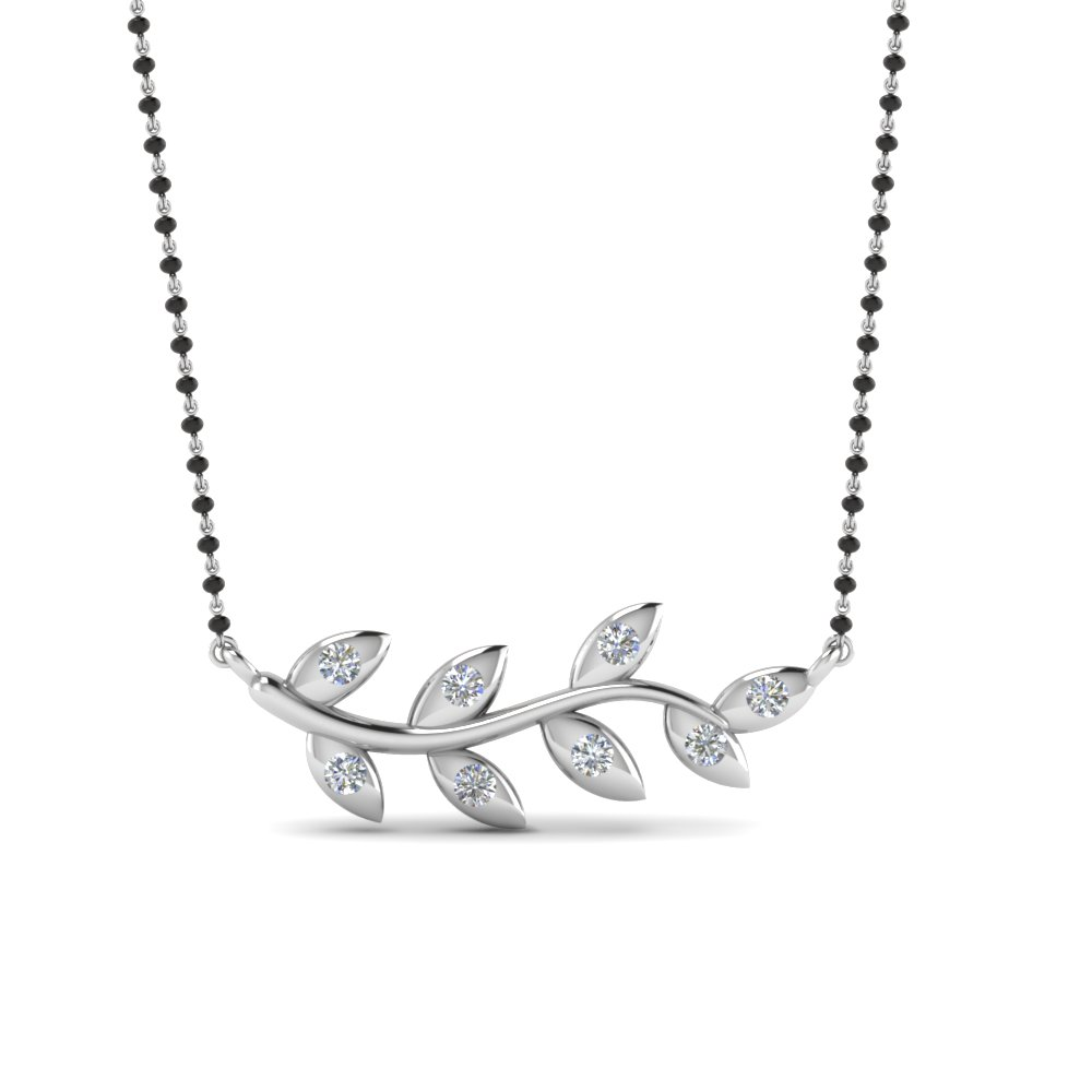 Leaf Design Diamond Mangalsutra In 14k White Gold