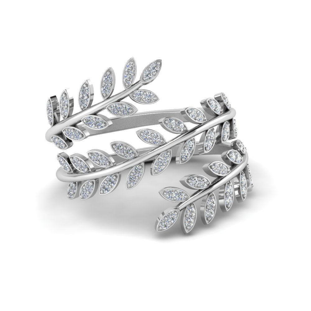 leaf design spiral eternity band in sterling silver FD8385RNL WG