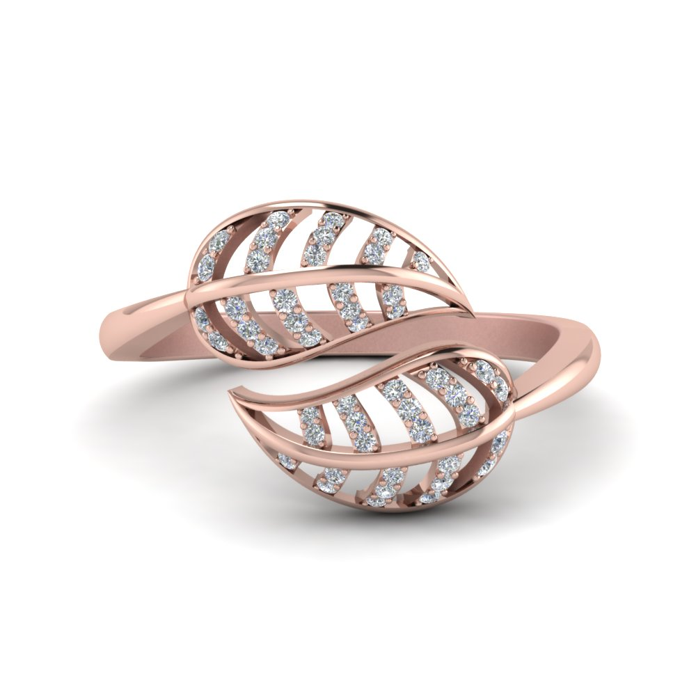 leaf diamond bypass ring in 14K rose gold FD8621 NL RG