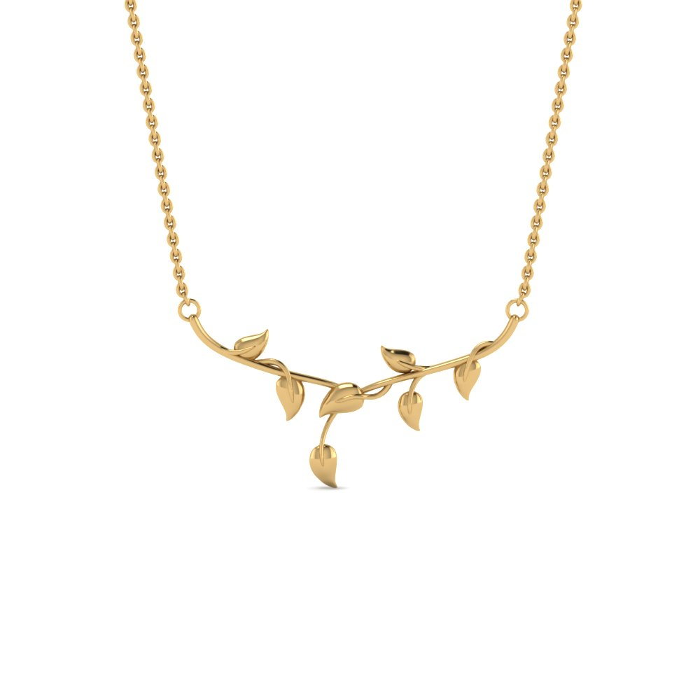 Leaf Yellow Gold Necklace