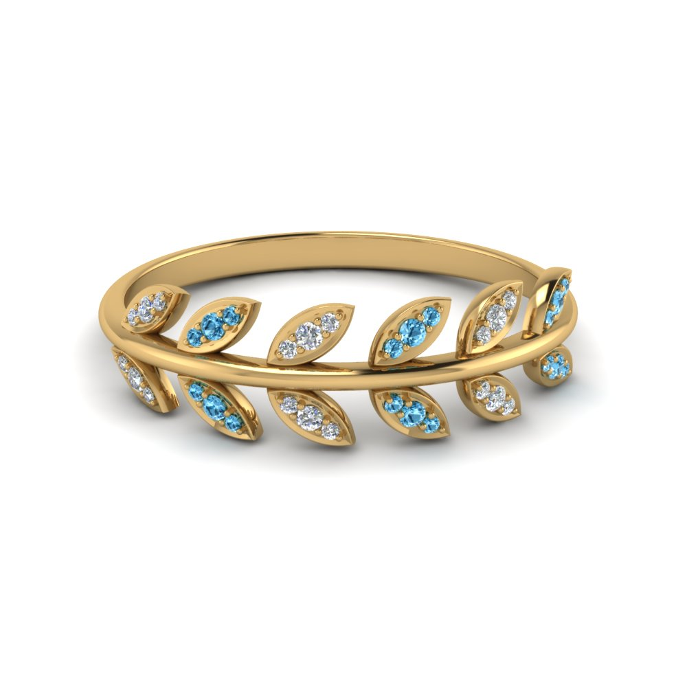 Cheap Blue Topaz Wedding Band With Leaves