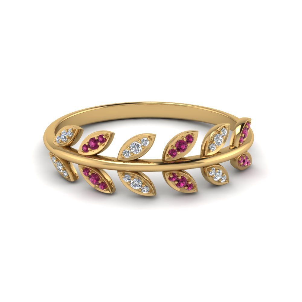 Womens Gold Wedding Band With Leaves