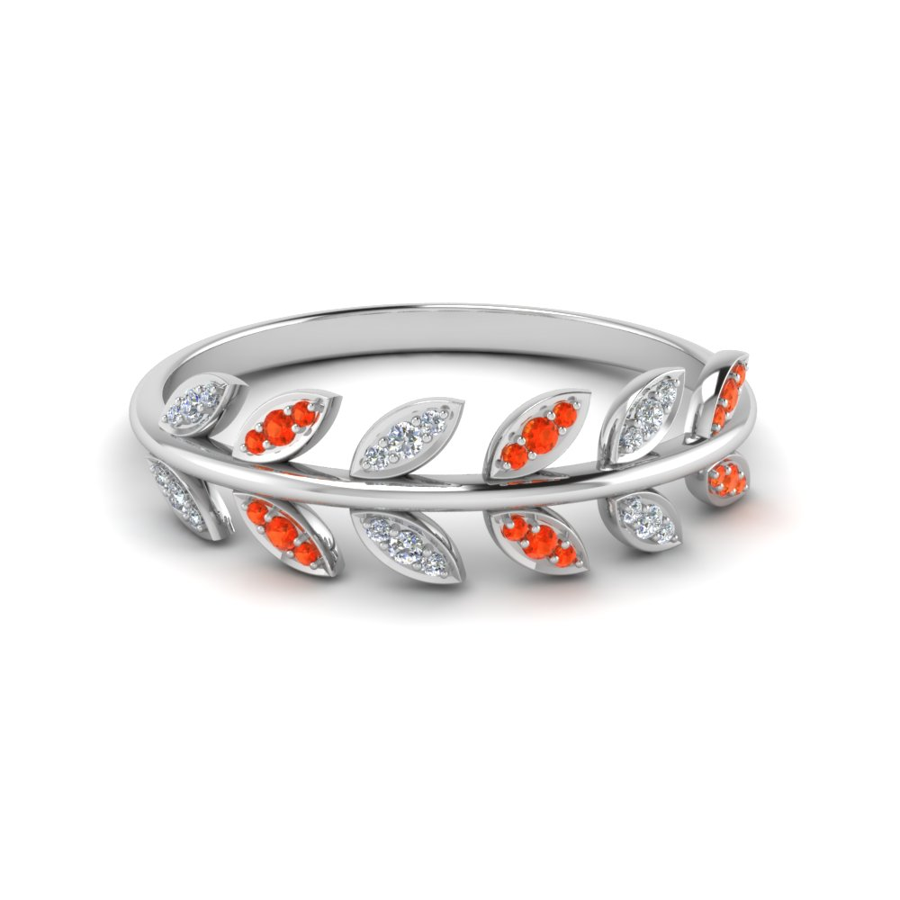 Leaves Wedding Band Gold With Topaz