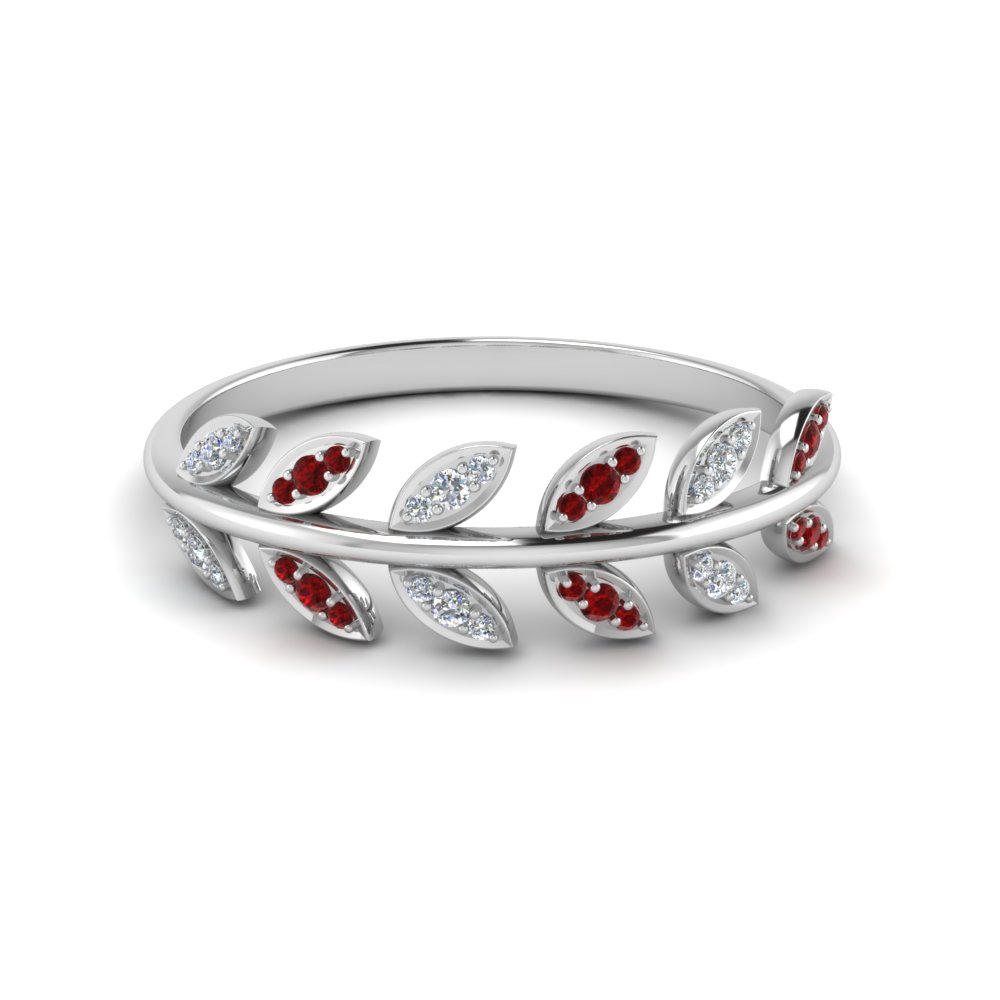 leaf pattern wedding diamond band with ruby in 14K white gold FD123035GRUDR NL WG