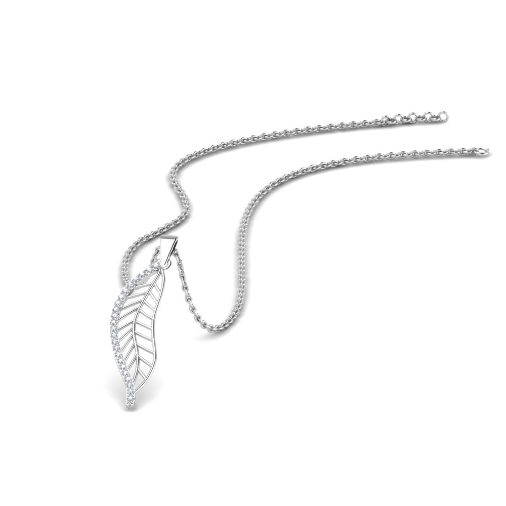 leaf pendant style diamonds in 14K white gold FDPD8340 NL WG