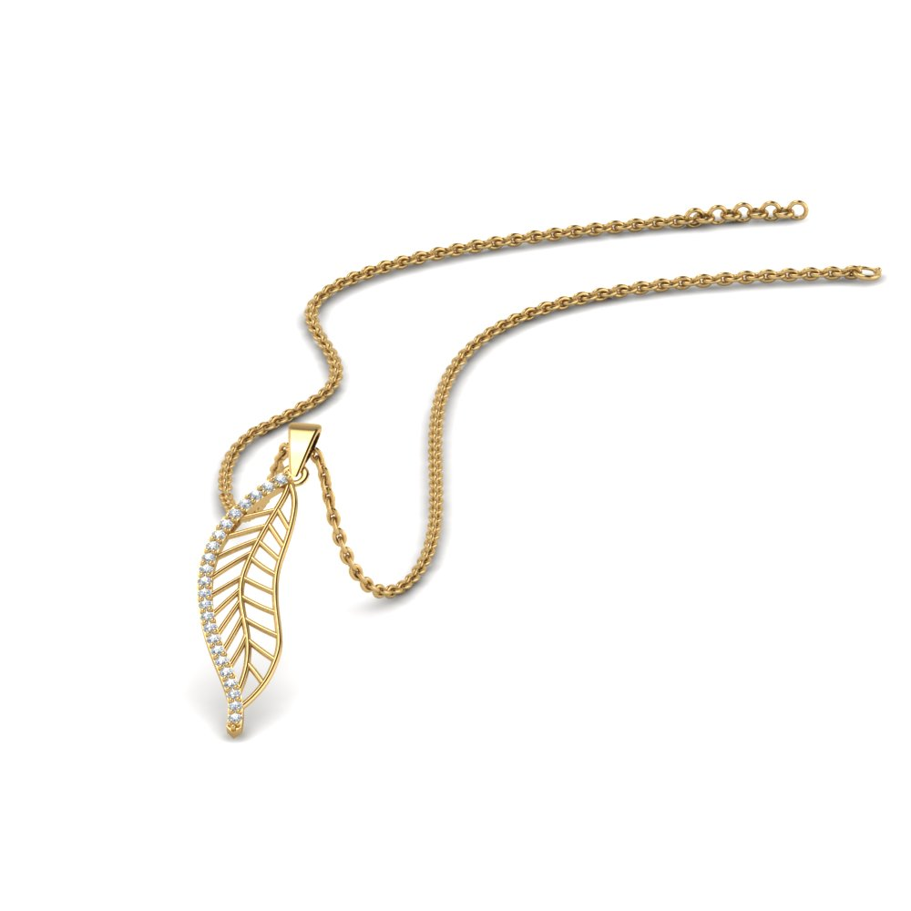 Leaf Pendant Style Diamonds In 14K Yellow Gold