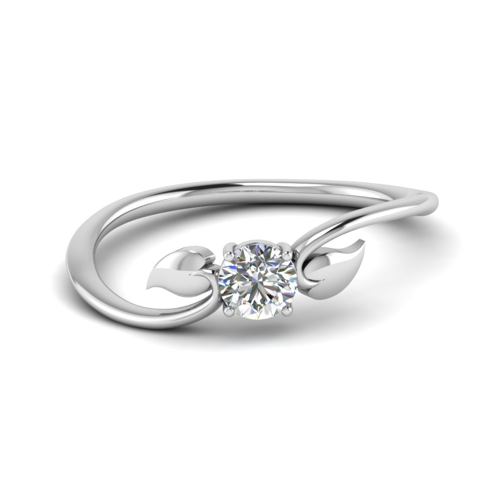 Leaf Solitaire Wedding Ring
