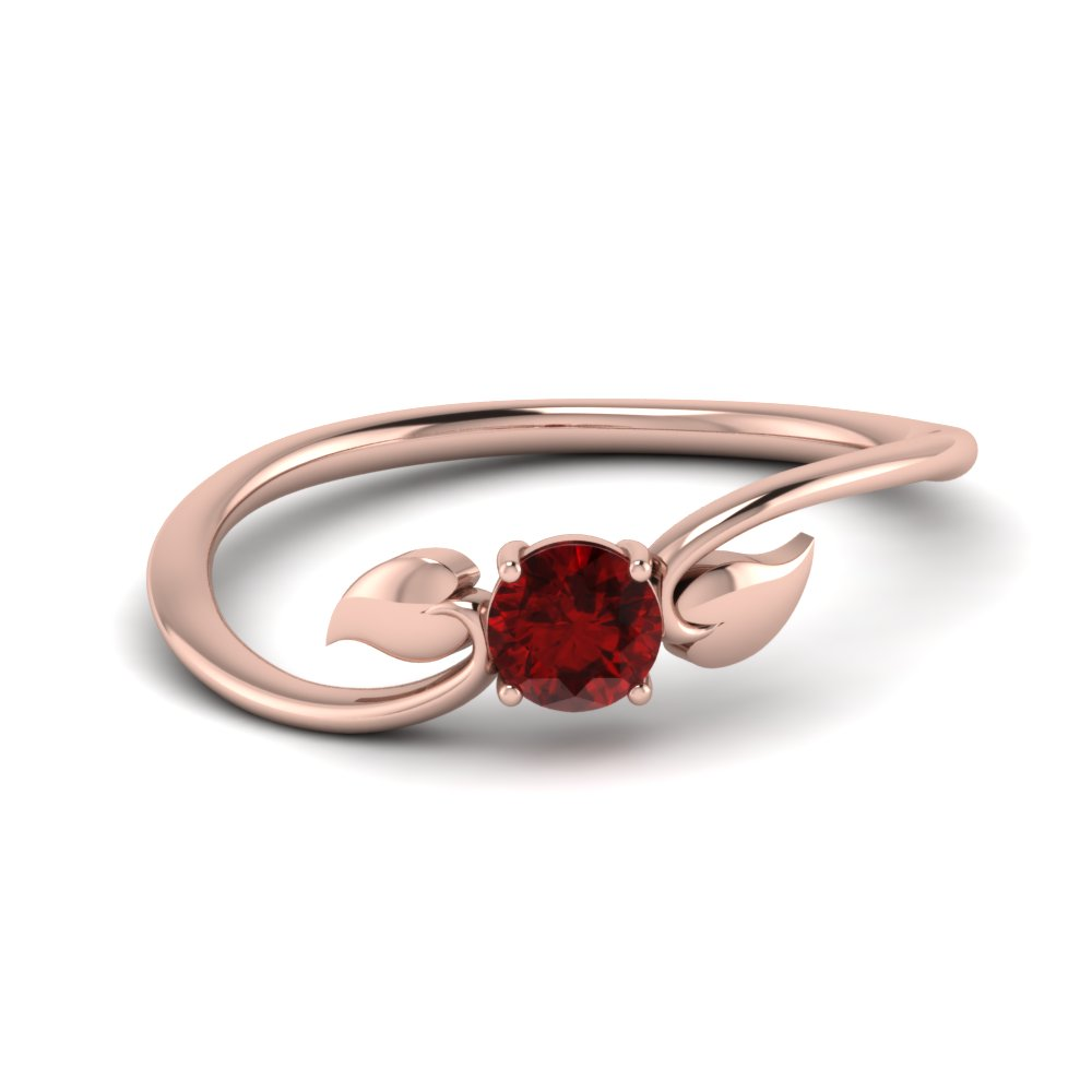 Leaf Solitaire Ruby Gemstone Ring