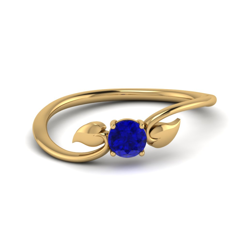 Leaf Solitaire Sapphire Wedding Ring