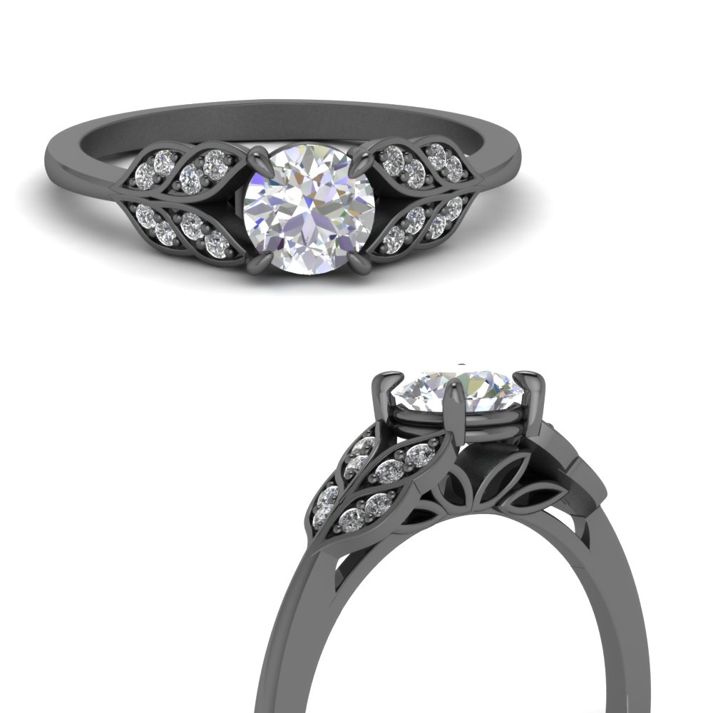 round-cut-leafy diamond engagement ring in 18K black gold FD8240RORANGLE3 NL BG