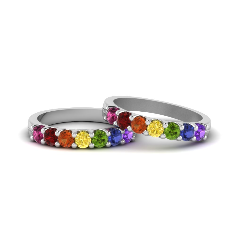 Lesbian Wedding Diamond Band With Rainbow In 18K White Gold