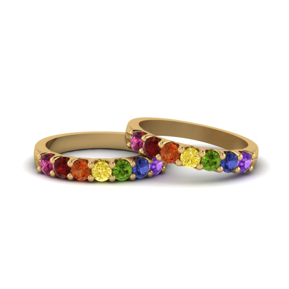 Lesbian Wedding Diamond Band With Rainbow In 18K Yellow Gold