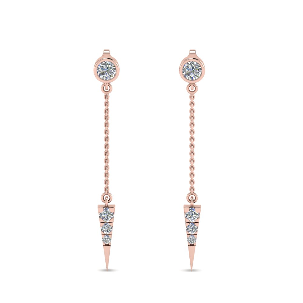Long Chain Diamond Drop Earring In Fdear8456angle1 Nl