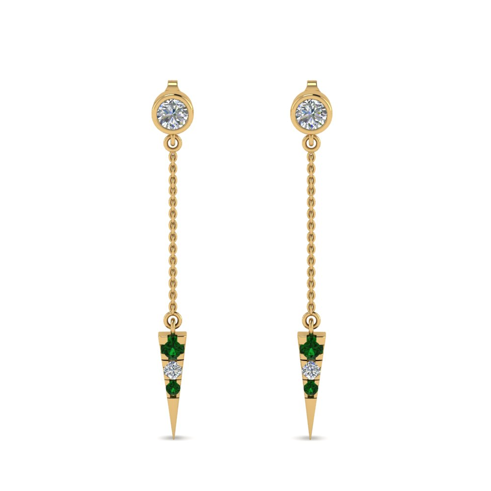 long chain diamond drop earring with emerald in 18K yellow gold FDEAR8456GEMGRANGLE1 NL YG