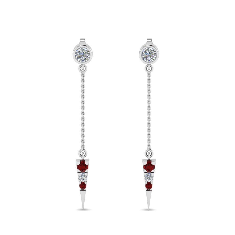 long chain diamond drop earring with ruby in 18K white gold FDEAR8456GRUDRANGLE1 NL WG