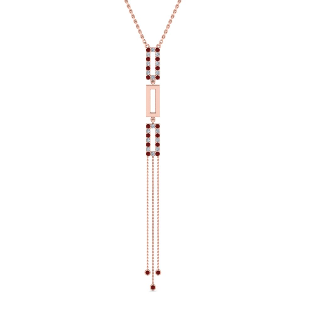 long chain diamond drop pendant with ruby in 18K rose gold FDPD8452GRUDRANGLE2 NL RG