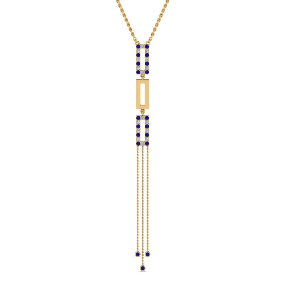 long chain diamond drop pendant with sapphire in 14K yellow gold FDPD8452GSABLANGLE2 NL YG