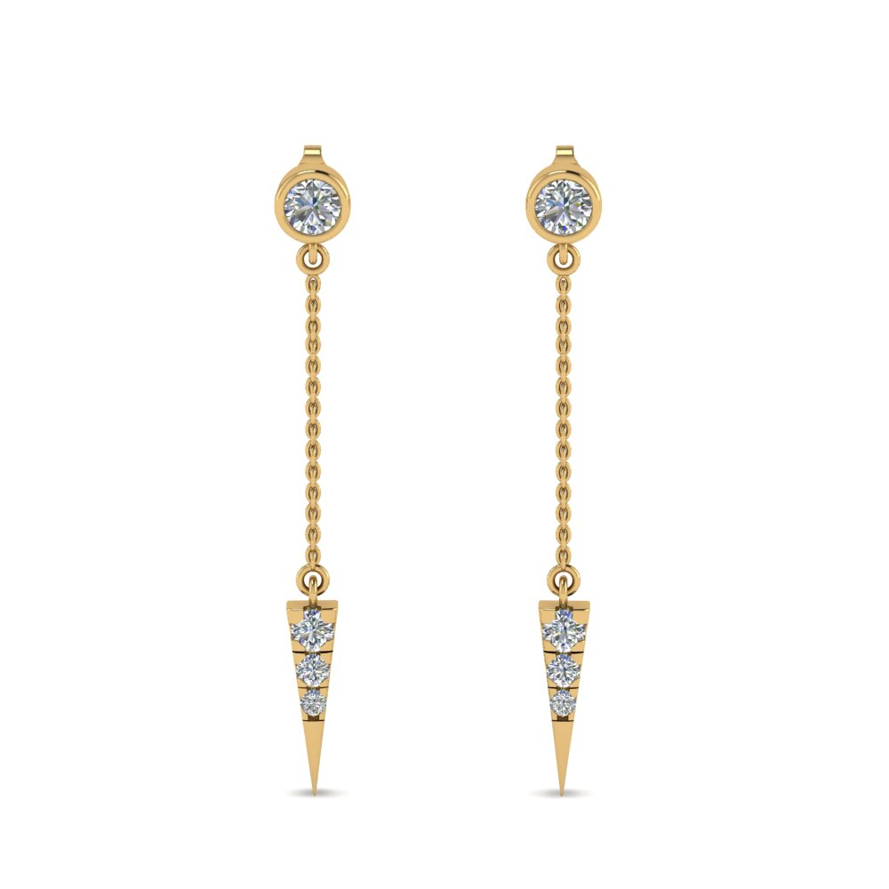 Long Chain Drop Diamond Earring Gift For Her In Fdear8456angle1 Nl Yg Jpg