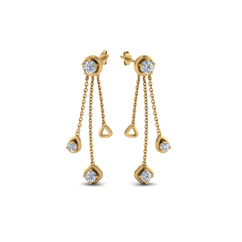 Long Chain Drop Diamond Earring