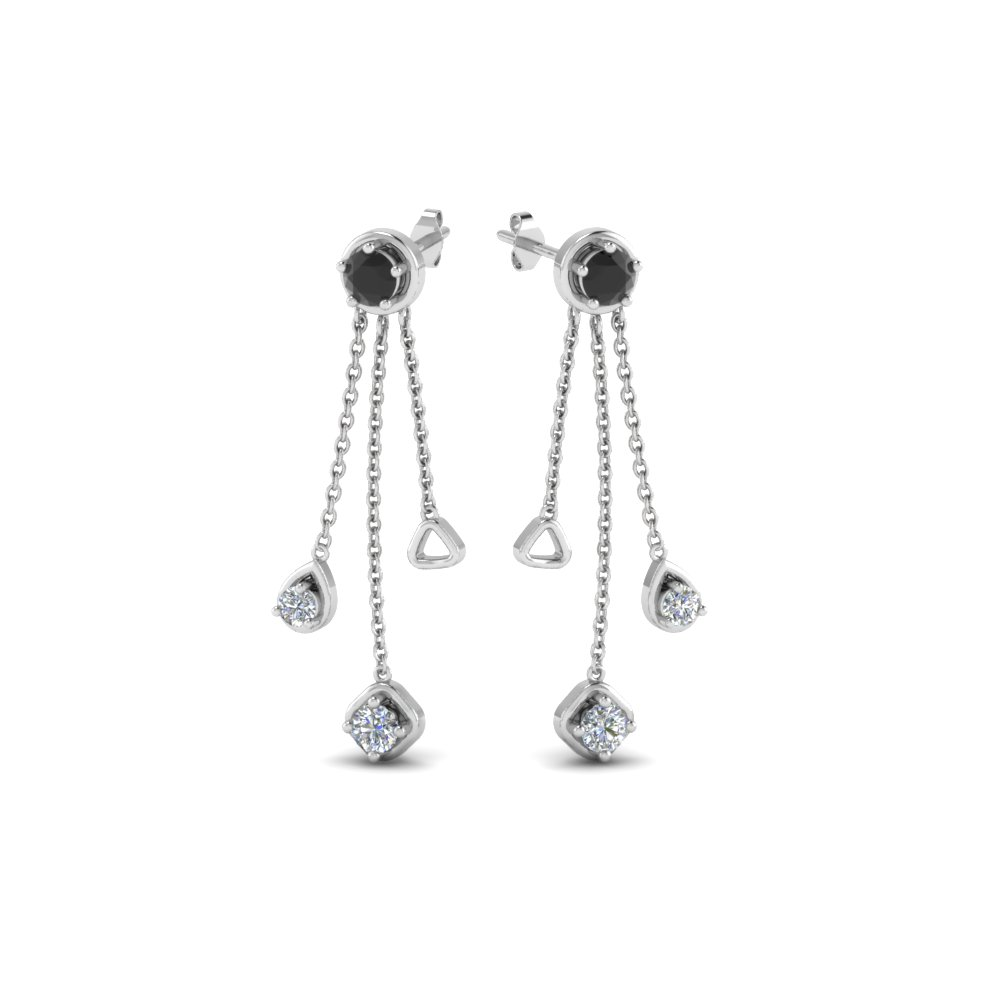 long chain drop earring with black diamond in 14K white gold FDCMJ 2825 1EGBLACKANGLE1 NL WG