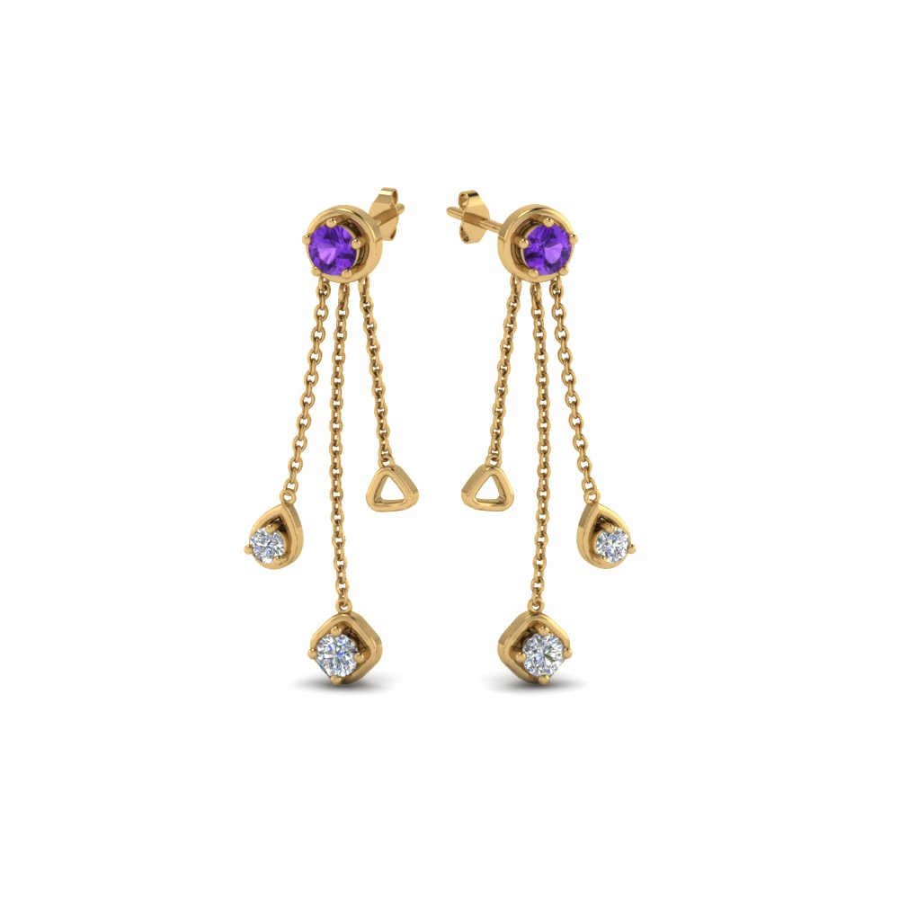 Long Chain Purple Topaz Earring