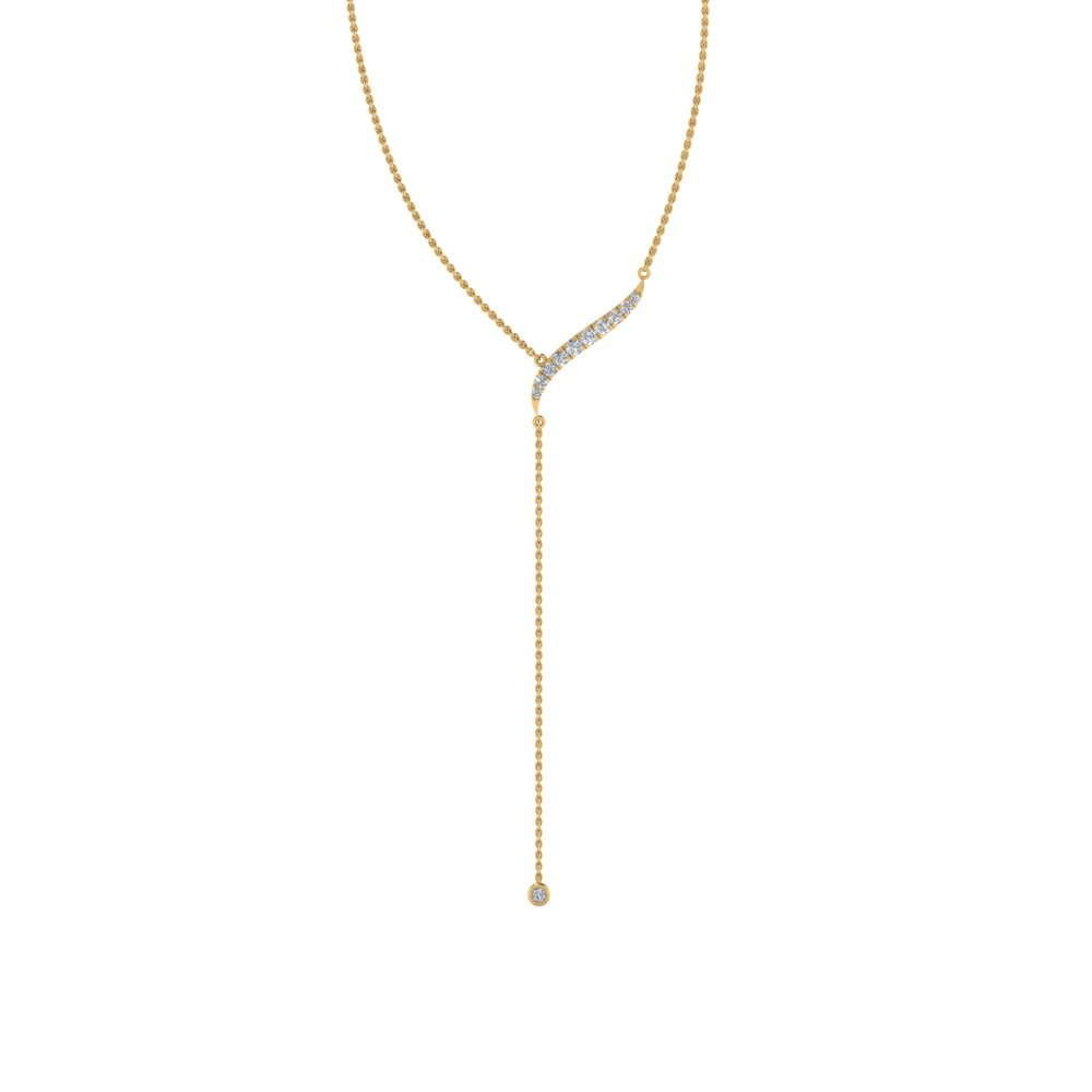 Long Chain Diamond Drop Pendant 18K Yellow Gold