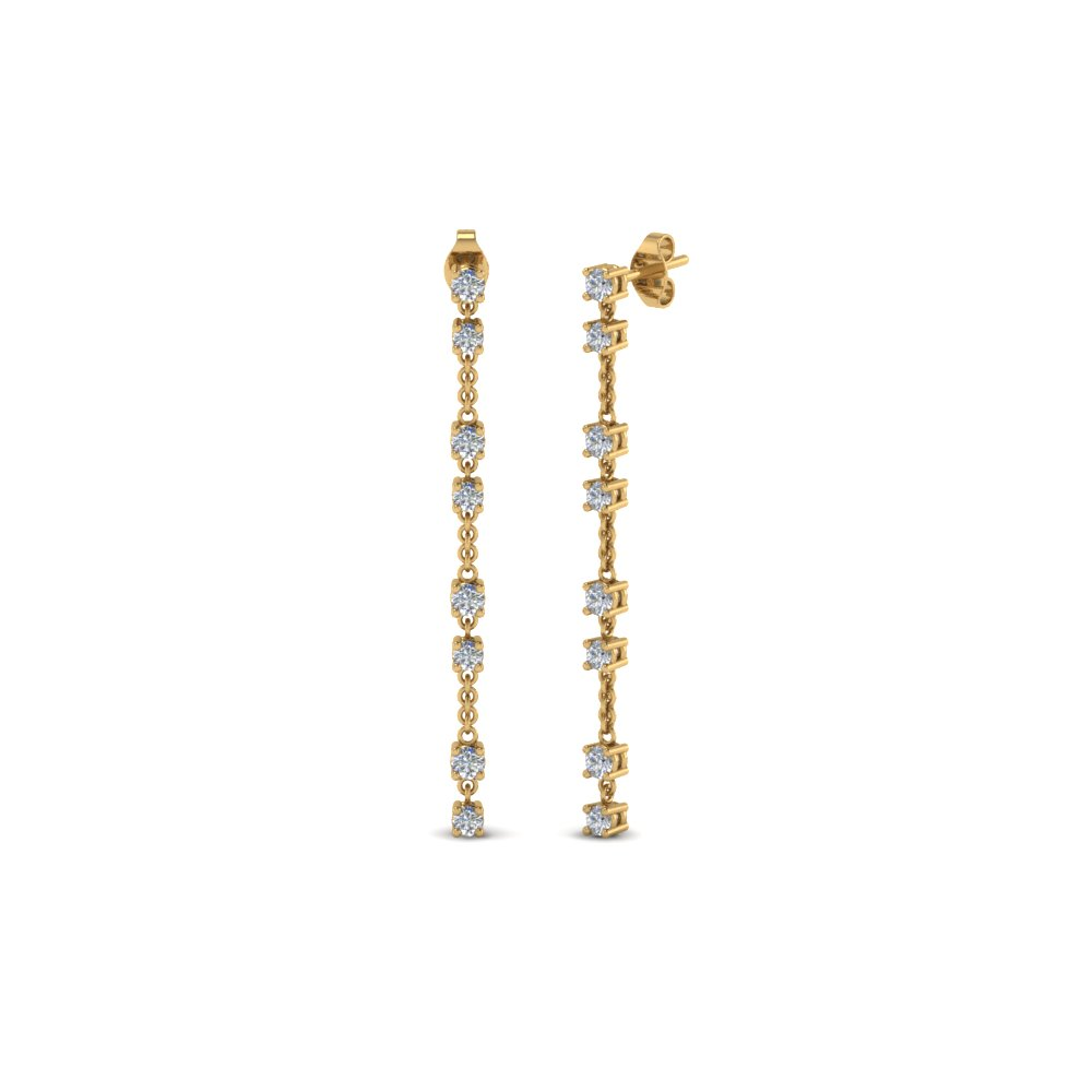long hanging diamond drop earring in 14K yellow gold FDEAR652340 NL YG