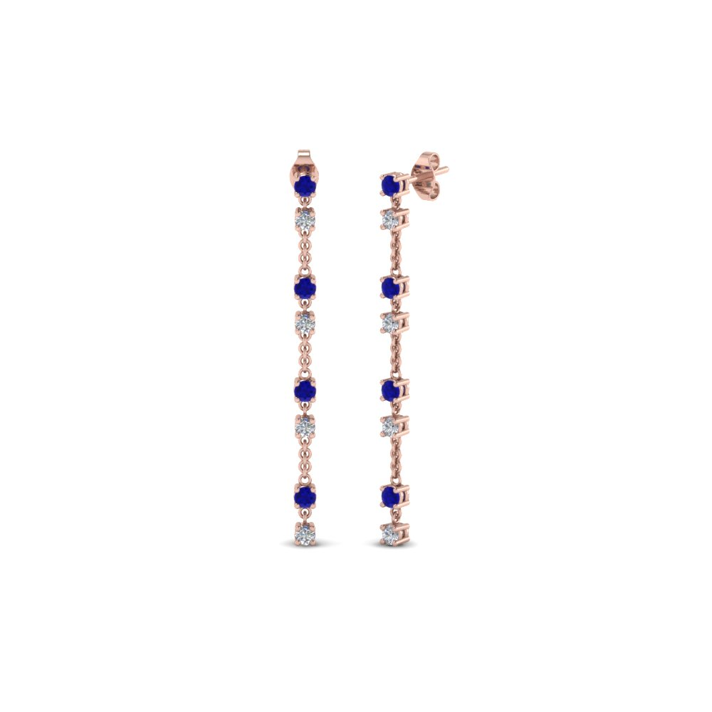 long hanging diamond drop earring with blue sapphire in 14K rose gold FDEAR652340GSABL NL RG