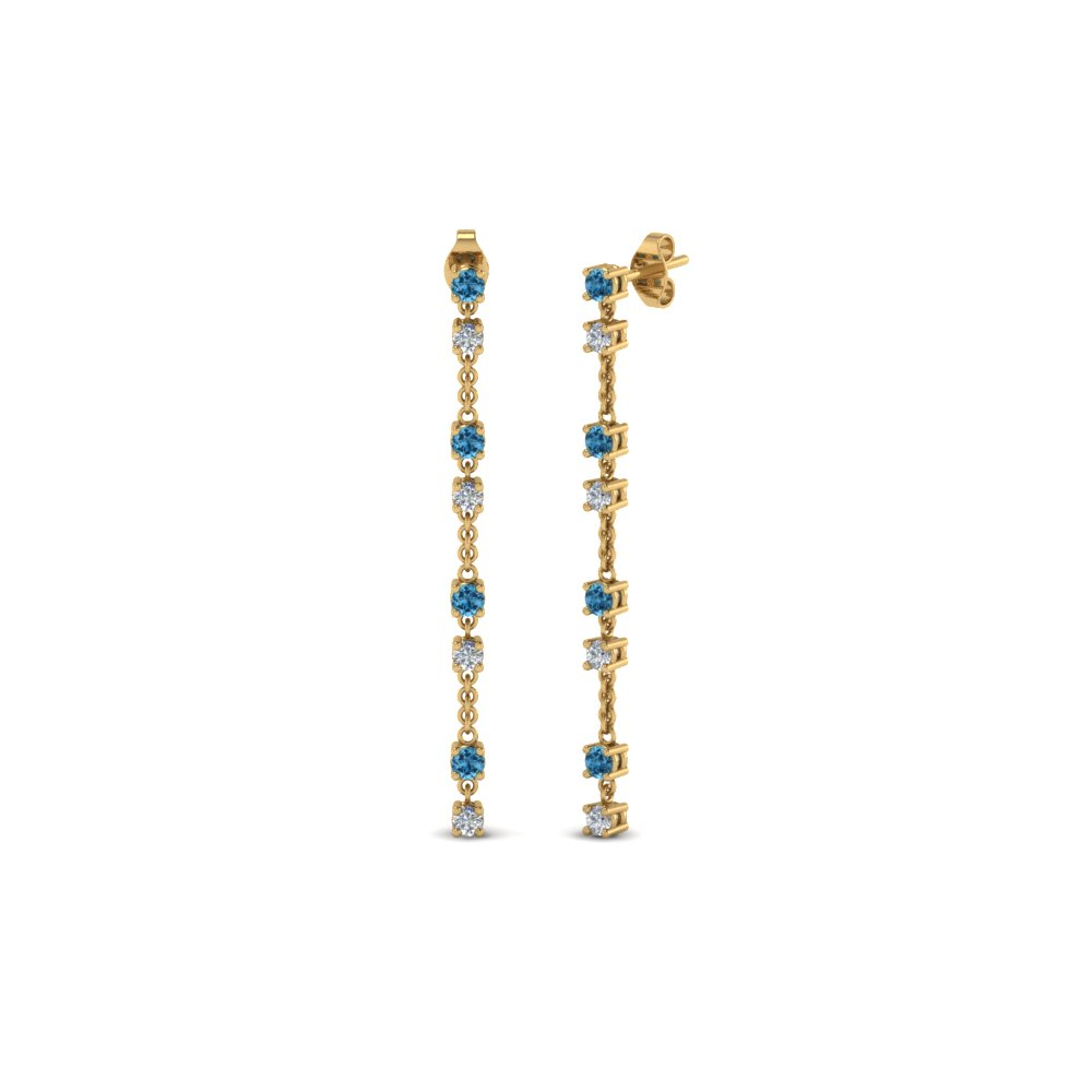 long hanging diamond drop earring with ice blue topaz in 14K yellow gold FDEAR652340GICBLTO NL YG