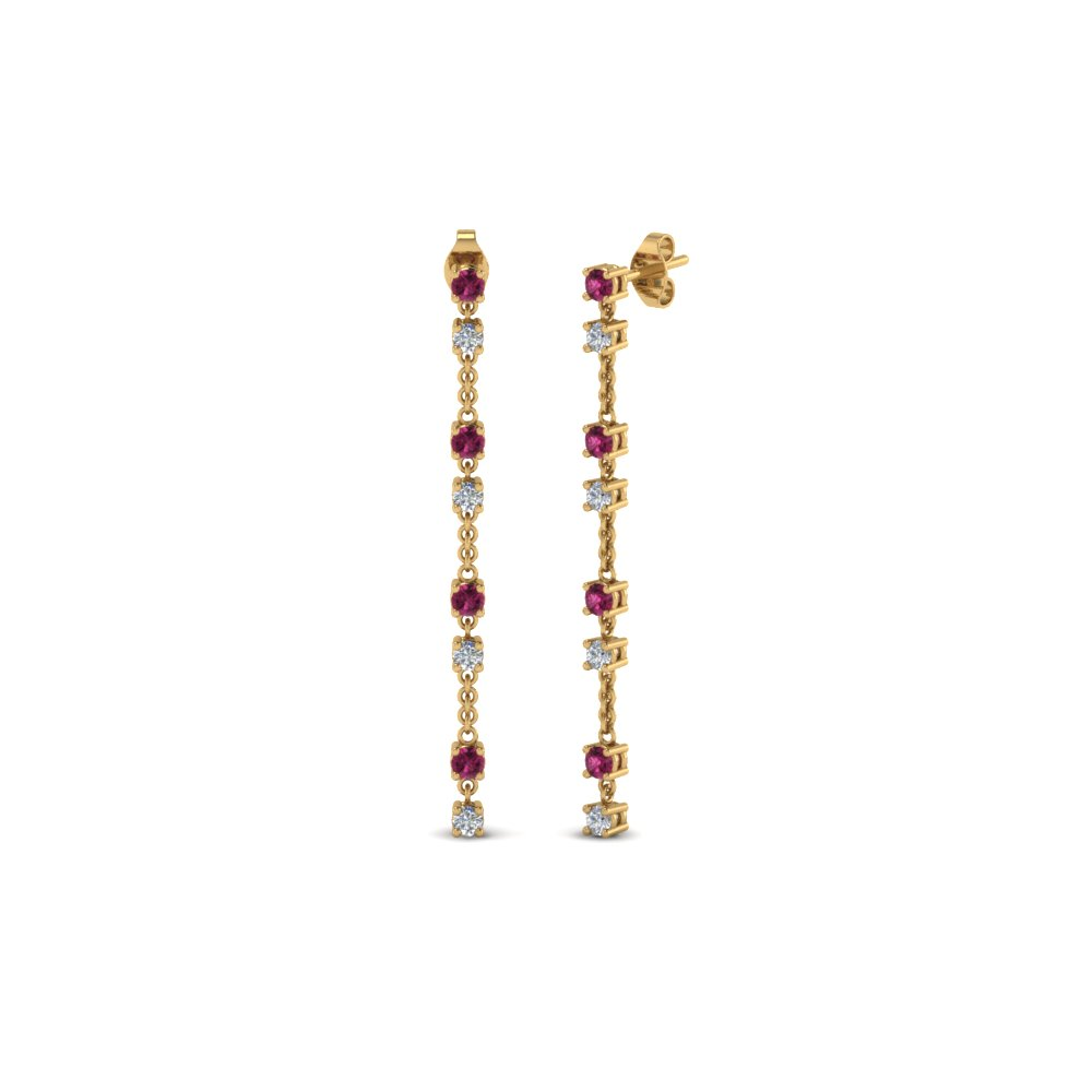 Pink Sapphire Hanging Earring