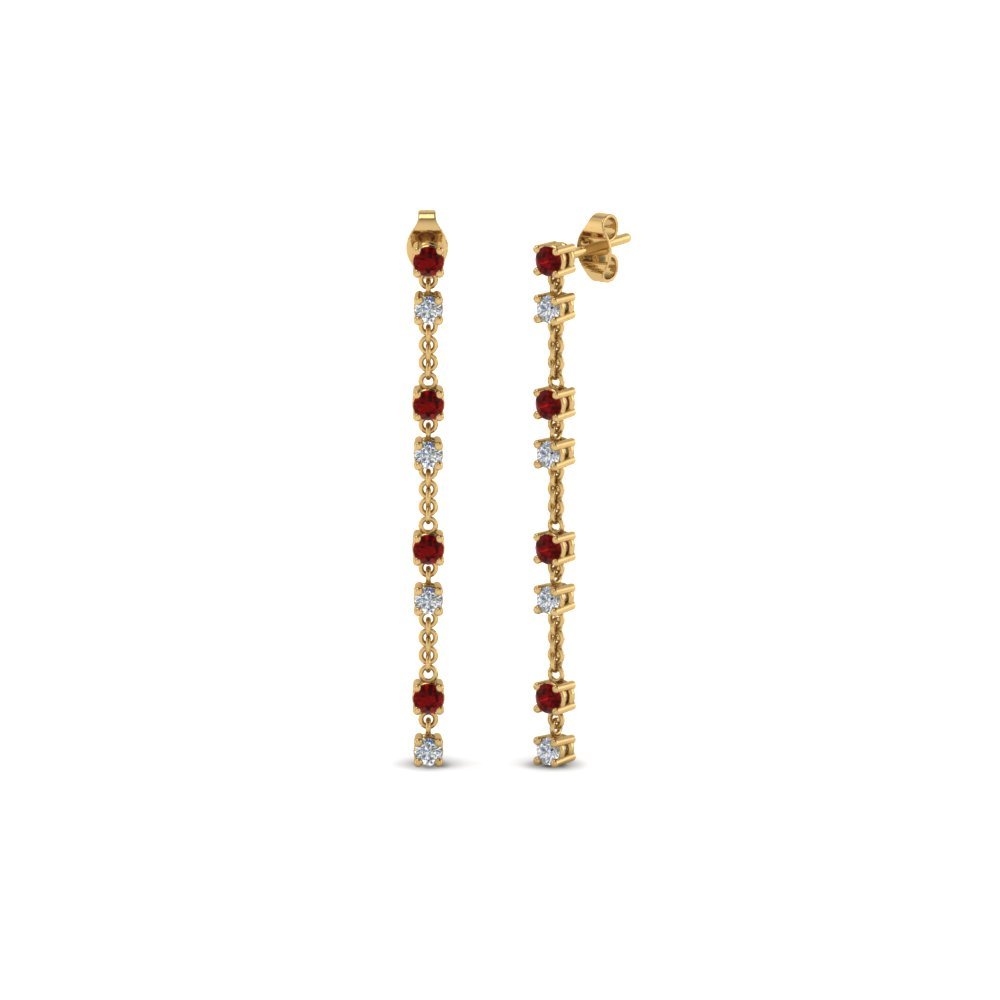long hanging diamond drop earring with ruby in 14K yellow gold FDEAR652340GRUDR NL YG