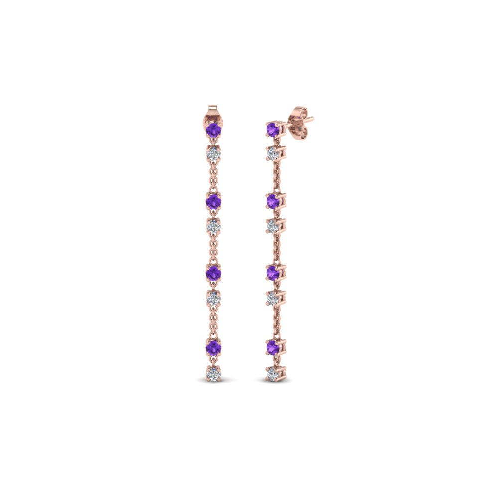 Purple Topaz Chain Design Earring