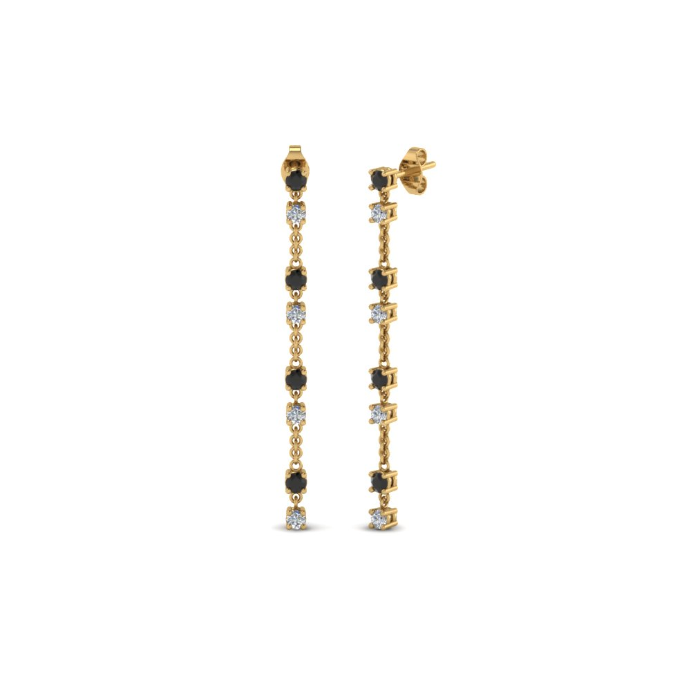 long hanging drop earring with black diamond in 18K yellow gold FDEAR652340GBLACK NL YG