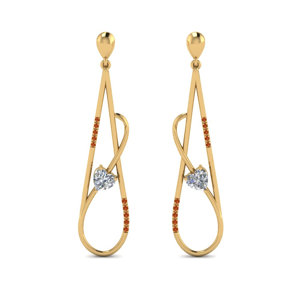 Long Open Teardrop Earring Stud