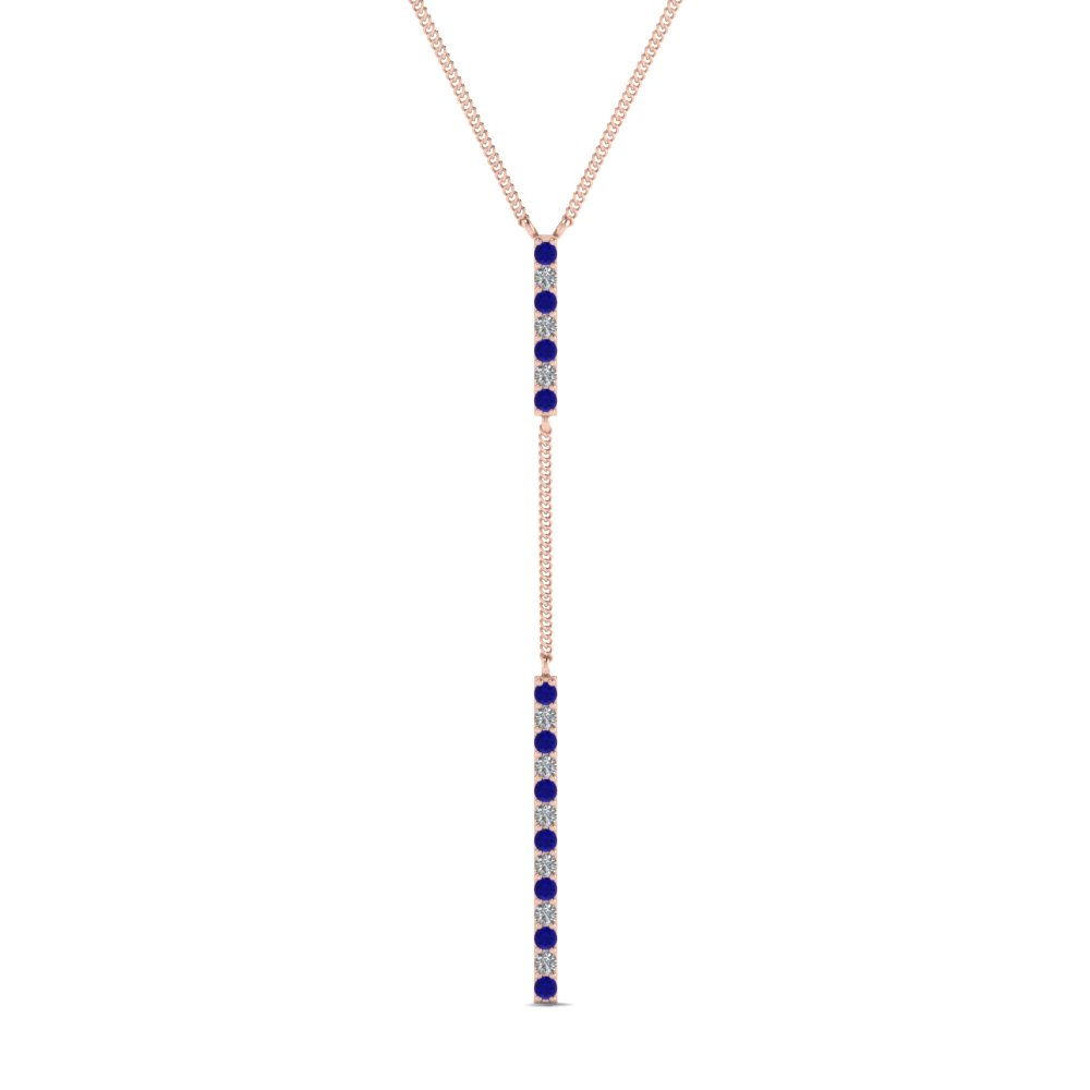 long straight bar hanging diamond pendant necklace with blue sapphire in FDPD652299GSABL NL RG