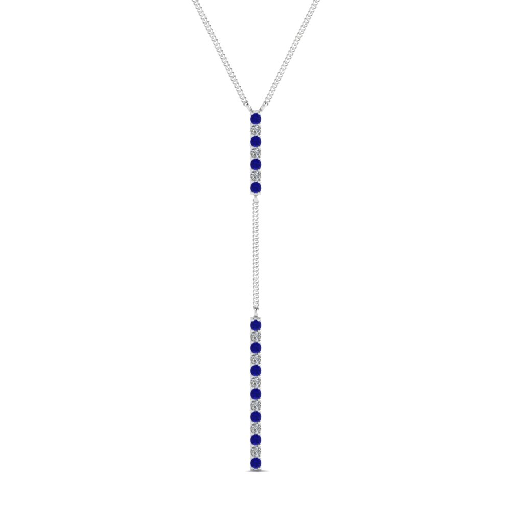 long straight bar hanging diamond pendant necklace with sapphire in FDPD652299GSABL NL WG