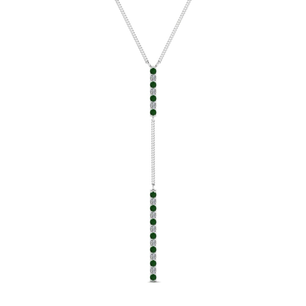 long straight bar hanging diamond pendant necklace with emerald in FDPD652299GEMGR NL WG