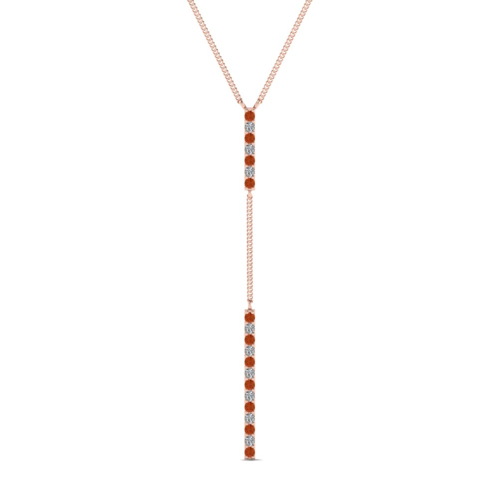 Long straight bar hanging diamond pendant necklace with orange long straight bar hanging diamond pendant necklace with orange sapphire in fdpd652299gsaor nl rg aloadofball Gallery