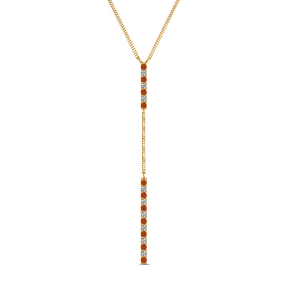 long straight bar hanging diamond pendant necklace with orange sapphire in FDPD652299GSAOR NL YG