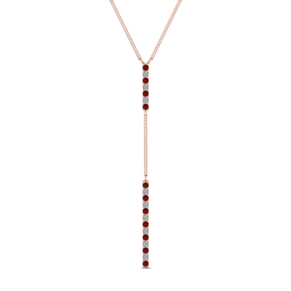 long straight bar hanging diamond pendant necklace with ruby in FDPD652299GRUDR NL RG