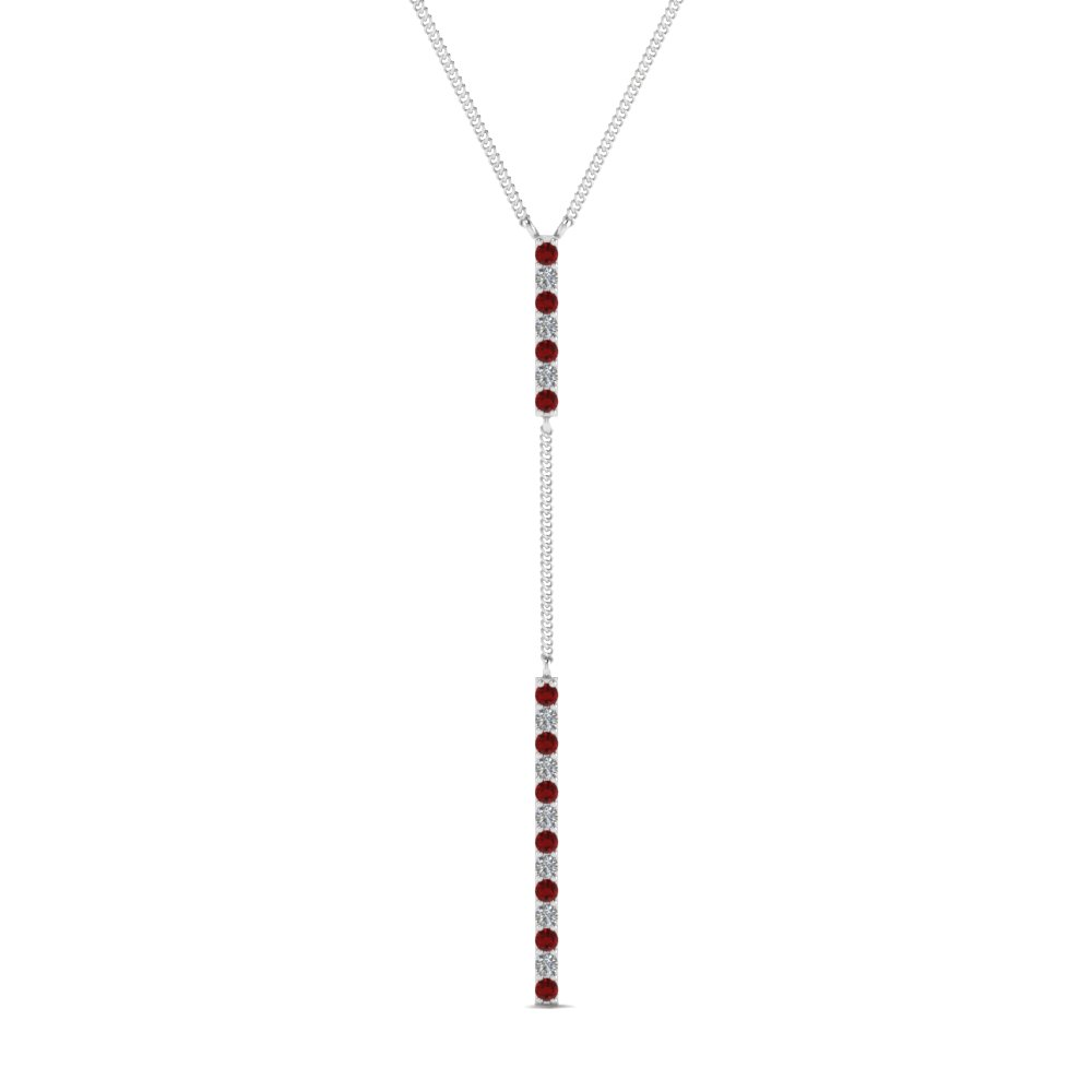 long straight bar hanging diamond pendant necklace with ruby in FDPD652299GRUDR NL WG
