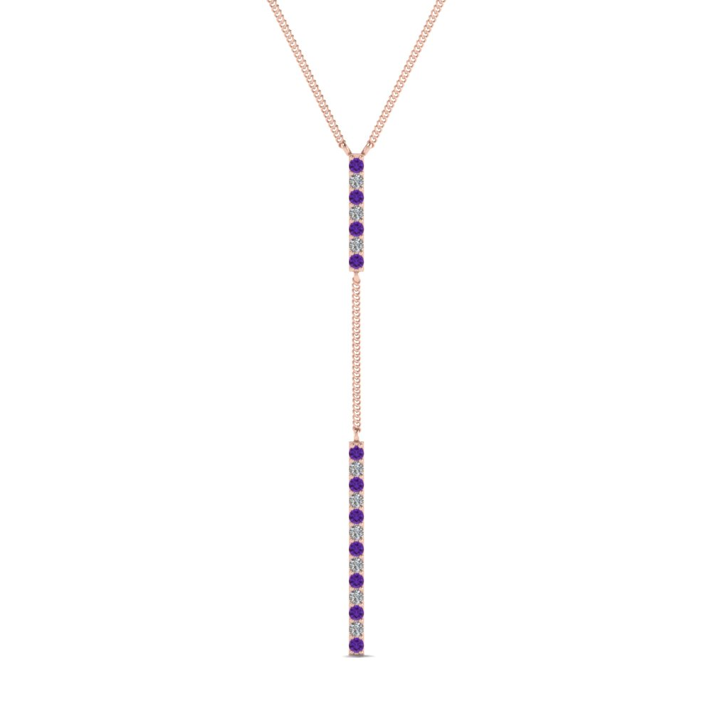 long straight bar hanging diamond pendant necklace with violet topaz in FDPD652299GVITO NL RG