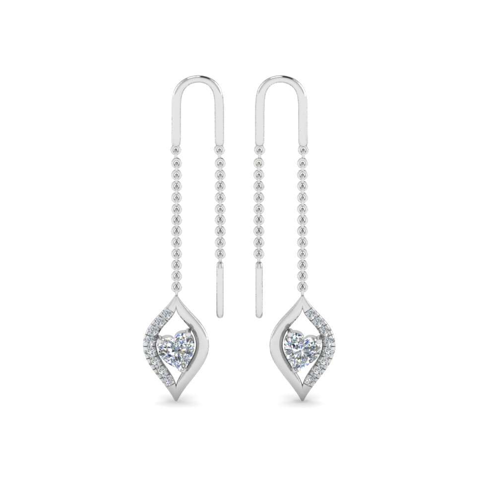 18K White Gold Heart Diamond Earring
