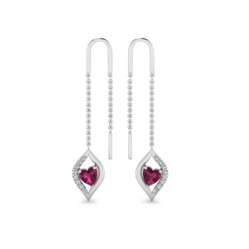 Platinum Heart Diamond Drop Earring