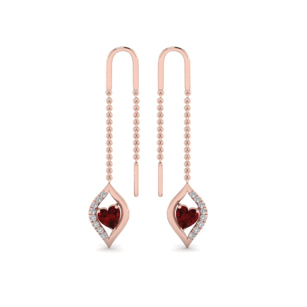 18K Rose Gold Heart Diamond Earring