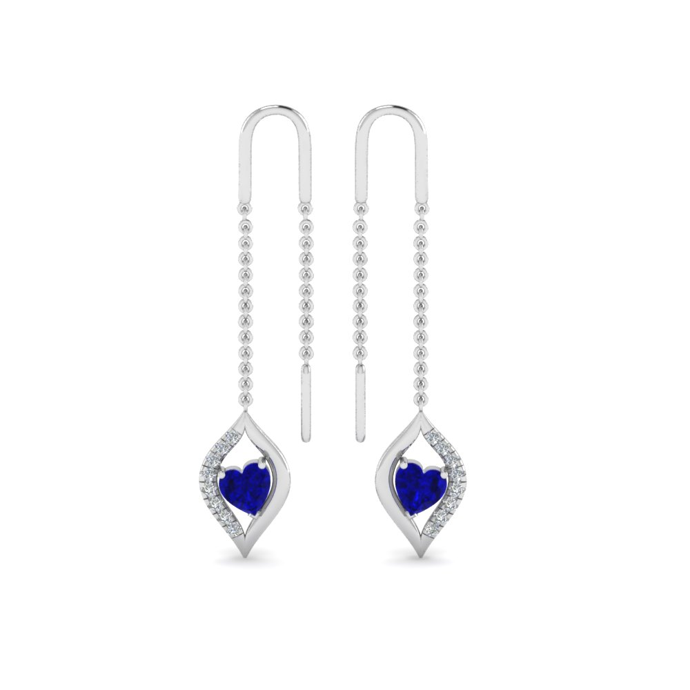 14K White Gold Long Threader Earring