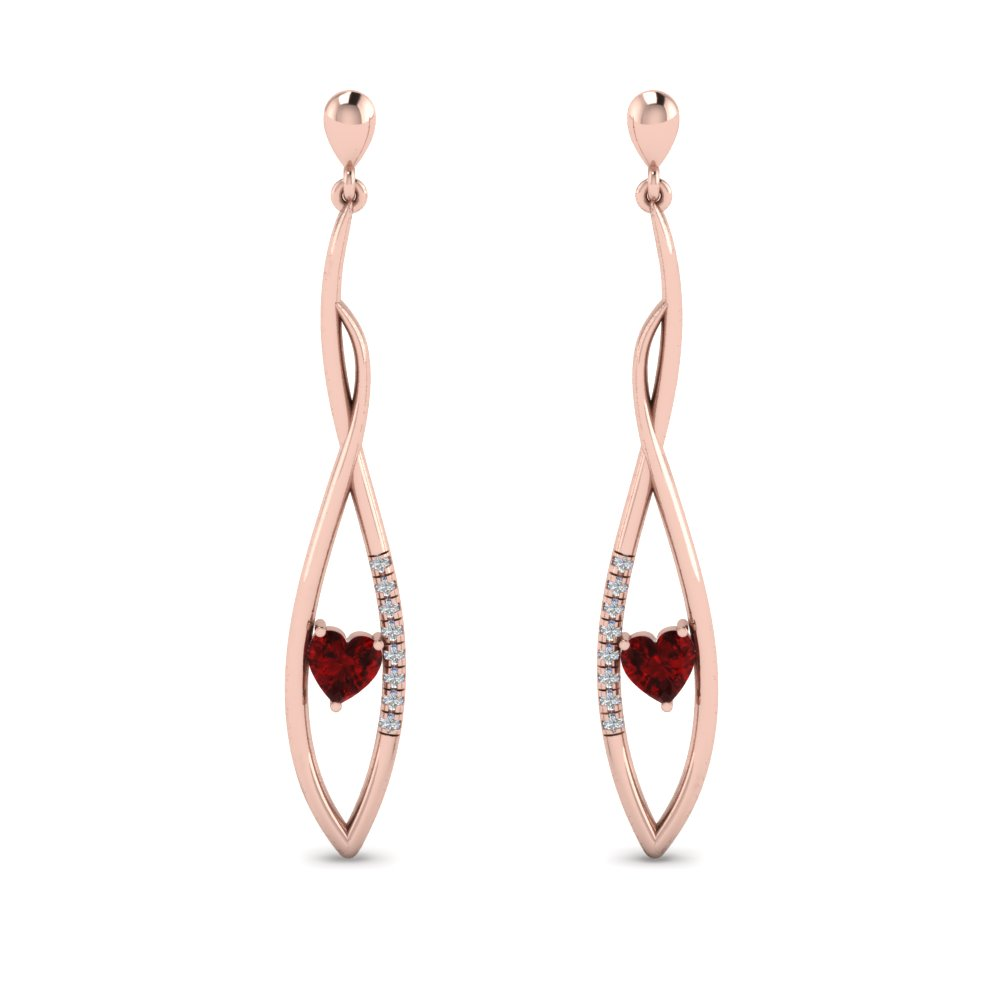 Ruby Twist Drop Earring