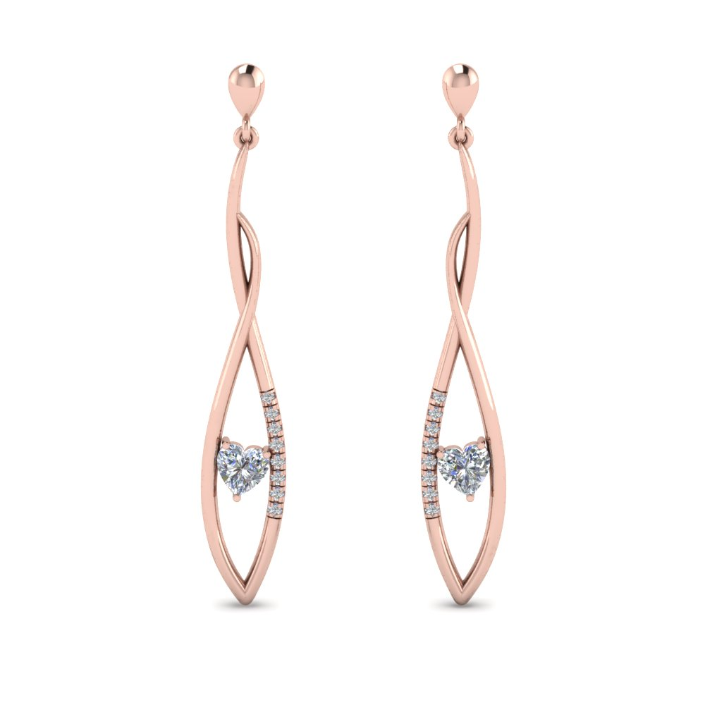 14K Rose Gold Long Twist Stud Earring