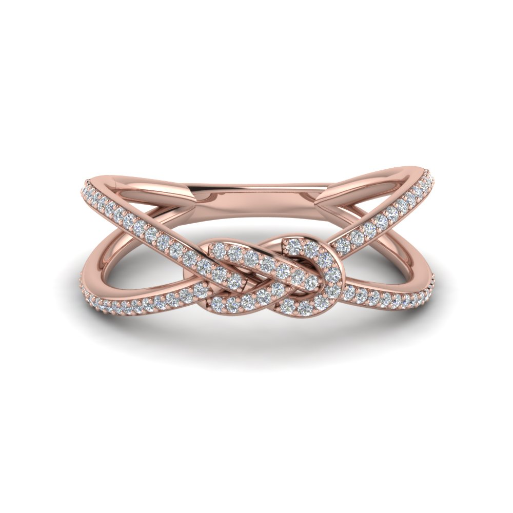 Love Knot Diamond Double Split Band In 14K Rose Gold Fascinating