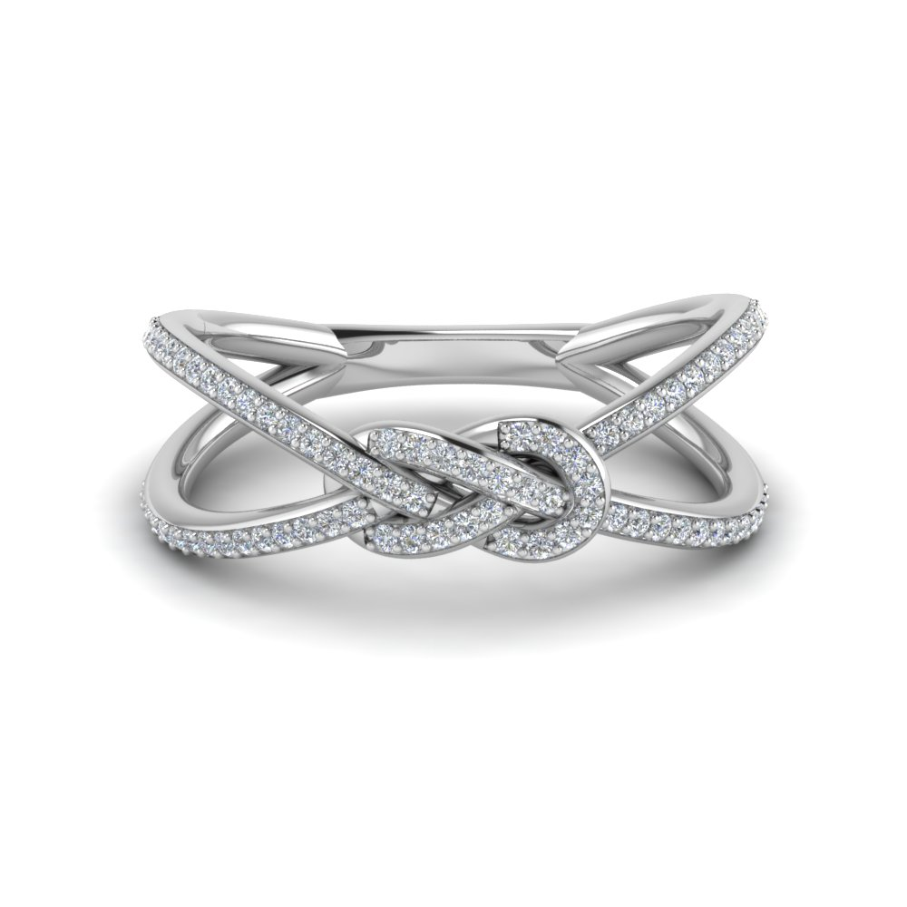 love knot diamond double split band in FD123097ROR NL WG